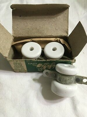 Vintage Porcelain Farm Electric Fence Gate Anchors Lot Of 3 USA Made Chicago NOS 2