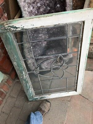 SG 1718 antique all beveled glass tulip center transom window 23 x 34.5