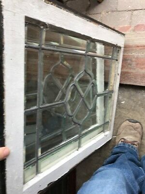 Sg 1583 Match Pair Antique All Beveled Glass Window 20.5 X 23.25