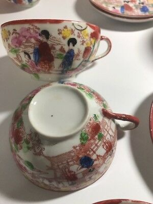 Antique Tea Cups Chinese Saucers  Rose Medallion Asian China Japan Oriental