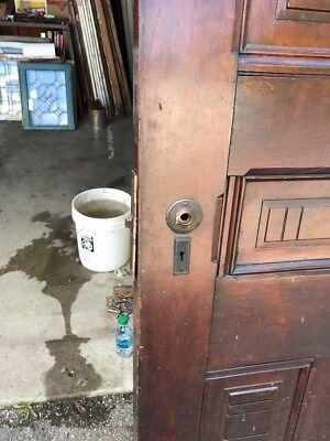 """MAR 248 antique late 1800s walnut entry door 34 x 113.5 x 1 7/8"""""""