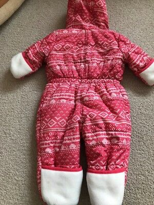 2aa658b2b 9 of 12 Avenue Baby Girls Snowsuit Age 3-6 Months In Pink With Fold Back  Mittens And