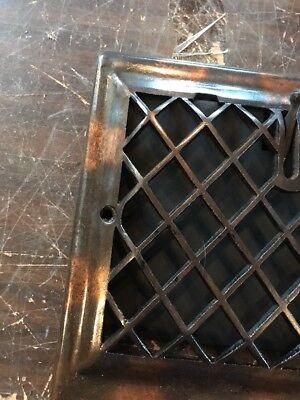 P 12 antique crosshatch floor to wall mount heating grate 10.75 x 11 5/8 2