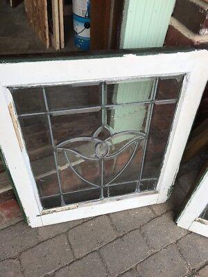 SG 1702 match Pair antique all beveled glass tulip windows 22.5 x 25