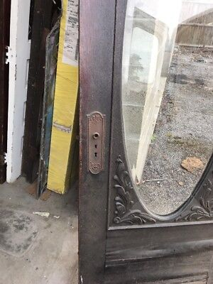 MAR 219 antique Beveled Oval entrance door gingerbread 32 x 83.75