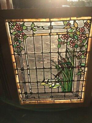 Incredible Antique Three-Piece Cattail Lillypad Floral Landing Set Stained Glass