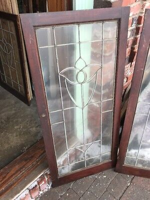 Sg 1748 Two Available Priced Each Antique Tulip Beveled Window 22 X 48""