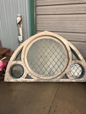 An 4 available price separate antique Gothic arch Stainglass window 76.5 X 48