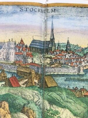 Old Antique  Map of Stockholm, Sweden: 1588 by Braun & Hogenberg REPRINT 1500's 2