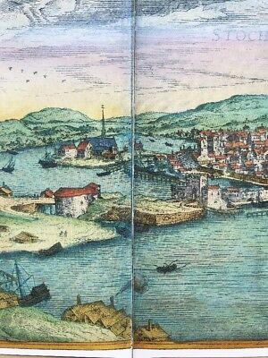 Old Antique  Map of Stockholm, Sweden: 1588 by Braun & Hogenberg REPRINT 1500's 3