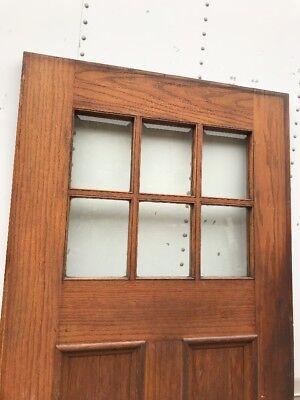 MAR 29 antique oak entrance door six beveled glass panels 35.75 x 80.25