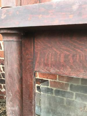 R 13 Antique Oak Beveled Glass Mantle 60.5 X 83.5 X 11.5