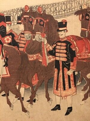 Antique Japanese Woodblock Print Meiji Imperial Guard Military Parade Scene 5