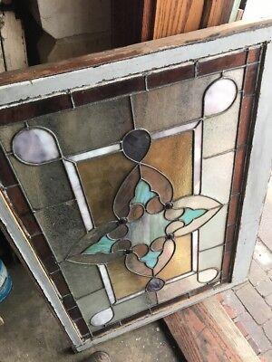 Sg1779 Antique 4 Red Jewels Landing Window 29 X 40