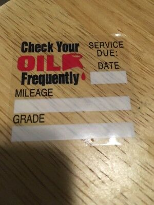 100 Static Cling Oil Change Reminder Stickers Decals  Free Fast Shipping 3