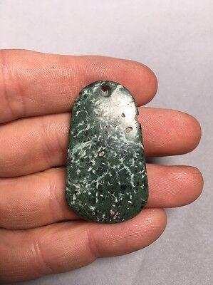 Precolumbian Blue Jade Pendant Bead Speckled Duck Bill Shape 2