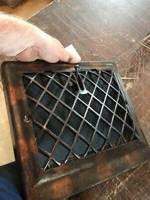 P 12 antique crosshatch floor to wall mount heating grate 10.75 x 11 5/8 8