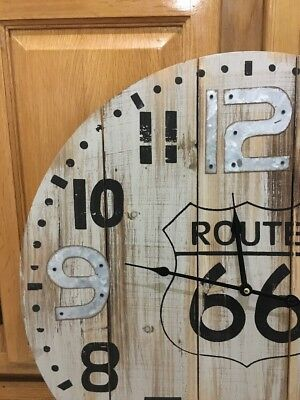 Route 66 Clock Country Vintage Style Gas Oil Pump Garage Wall Road Art Wood 2