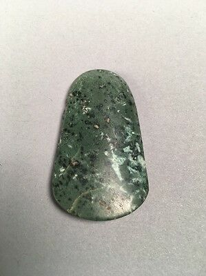 Precolumbian Blue Jade Pendant Bead Speckled Duck Bill Shape 8