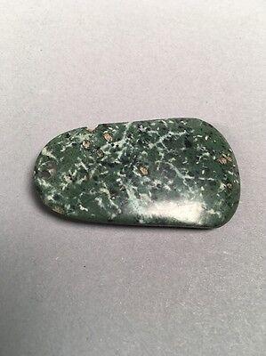 Precolumbian Blue Jade Pendant Bead Speckled Duck Bill Shape 10