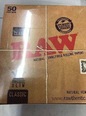 Full Box of 50 RAW Cigarette Rolling Paper Classic Kingsize Slim Free P&P £15.99 2