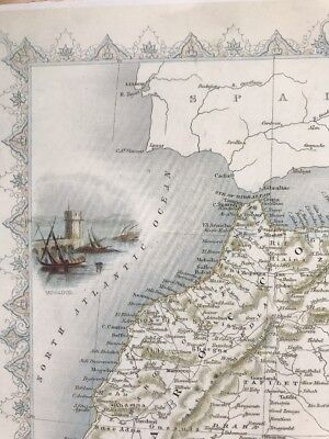 "Antique vintage colour map 1800s: North Africa by John Tallis 12 X 9"" Reprint"