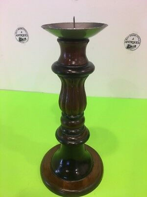 Vintage large 12'' ornate Round Wooden Candle Stand Indonesia 3
