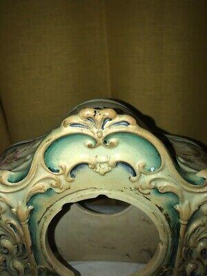 Vintage Porcelain Floral Mantle Clock Shell 5