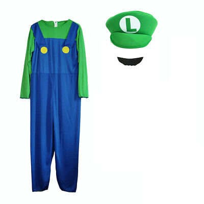 Mens Boy Kids Adult Super Mario Luigi Brothers Costumes Hat Fancy Party 4