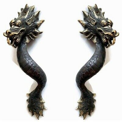 "2 Dragon door pull 30cm aged 100% brass old style house handle 12"" long heavy B 2"