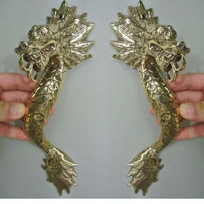"2 Dragon door pull 30cm POLISHED 100% brass old style handle 12"" long heavy B 2"
