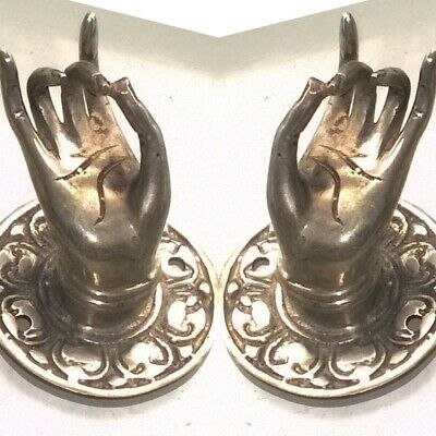 "2 small silver plated handle hand brass door old style knob hook 2.1/4 ""buddha B 7"
