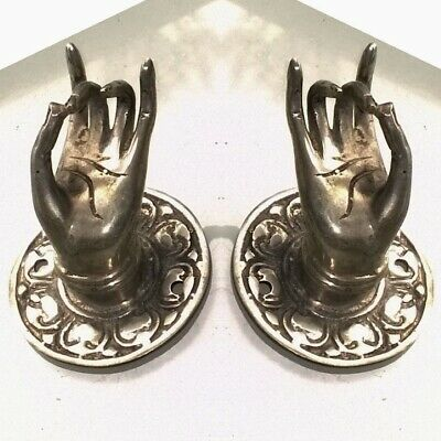 "2 small silver plated handle hand brass door old style knob hook 2.1/4 ""buddha B 6"