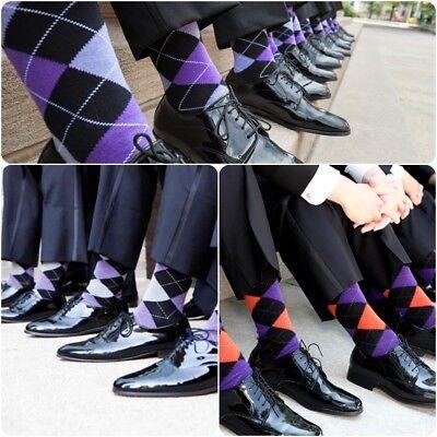 12 Pairs New Cotton Men Lords Argyle Style Dress Socks Size 10-13 Multi Color 3