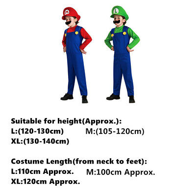 Mens Boy Kids Adult Super Mario Luigi Brothers Costumes Hat Fancy Party 3
