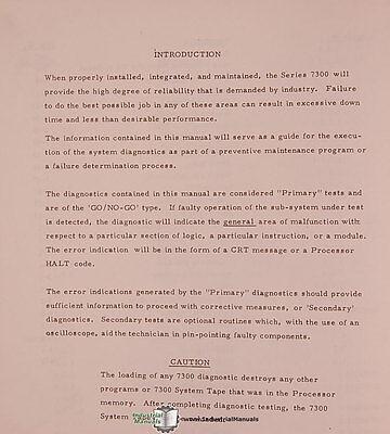 ALLEN BRADLEY 7320 & 7340, 7300 Series CNC System, Diagnostics Manual Year  1976
