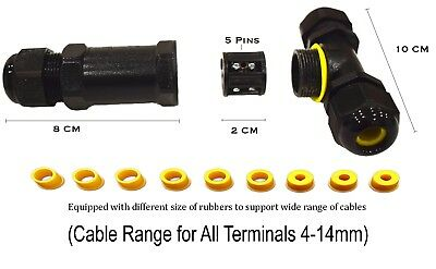 10 mm Cavo Connettore 2//3 Core IP68 16 A GIARDINO esterno impermeabile stagno 6 mm
