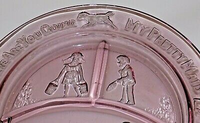 2 Vintage Mother Goose Children Pink Depression Glass Bowl Plate Tiara Set 4
