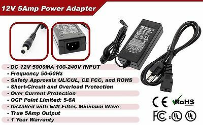 DC 12V 5A Power Supply Adapter +8 Split Power Cable for Amcrest UL EMI