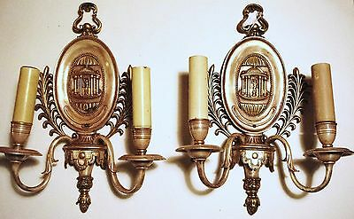 Pair (2)  E. F. Caldwell Bronze Sconces With Silver, Gold Back Plate. Offers! 2