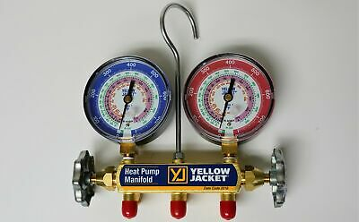 """Yellow Jacket 42044 Heat Pump Charging Manifold with 60"""" Black Plus 1/4"""" Hoses, 2"""