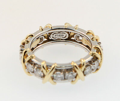 8409428ec ... Tiffany & Co Schlumberger Sixteen Stone Diamond Ring Platinum+Gold Sz  5.5 8