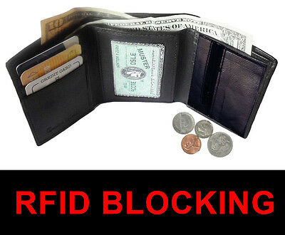 Rfid Block Mens Leather Trifold Wallet Id Card Holder Plain Coin Zip Pocket 2