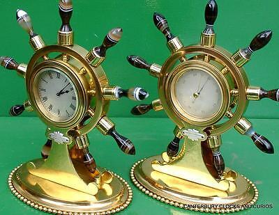 Howell James & Co Antique Ormolu Maritime Marine Navel Agate Clock Barometer 11