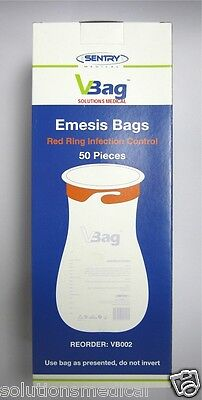 50 X Vomit Bags First Aid Emesis Red Ring Twist & Seal High Quality Best Price 9
