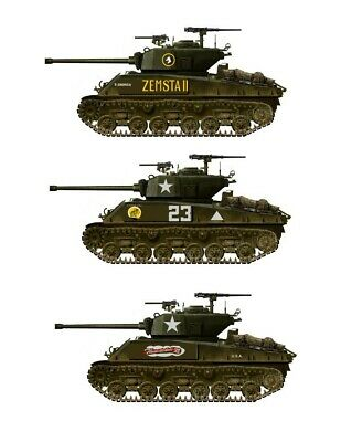 1//35 scale Sherman Tank Decals Early Production WWII 3 complete Tanks