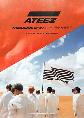 ATEEZ TREASURE EP.1:ALL TO ZERO Album CD+P.Book+Sticker+Poster+PostCard SET+Card 2