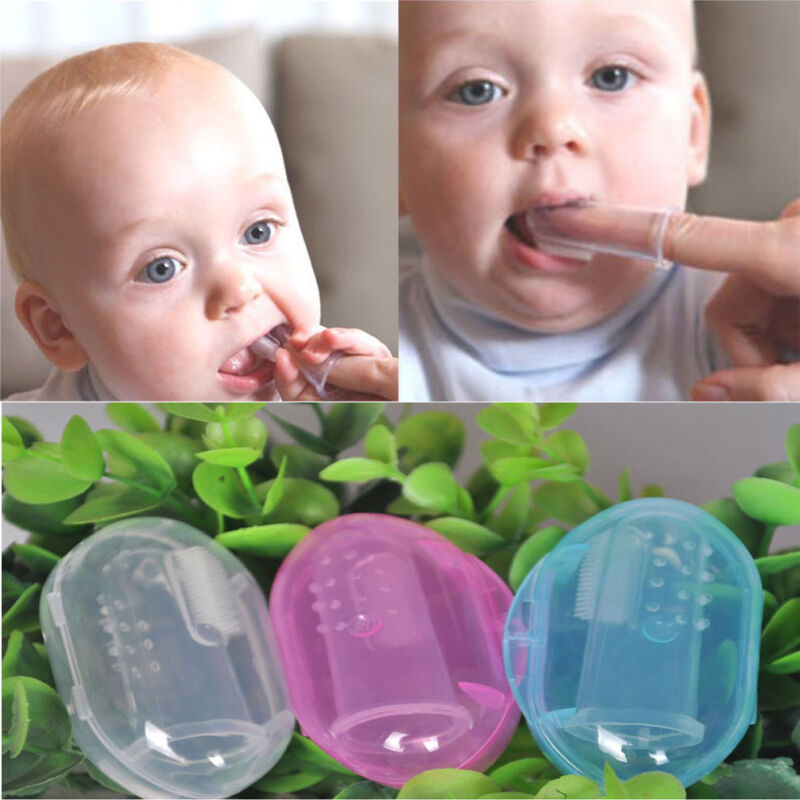 Baby Infant Soft Silicone Finger Toothbrush Teeth Rubber Massager Brush with Box