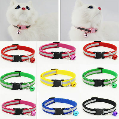 Adjustable Reflective   Nylon Cat Safety Collar with Bell for Cat Kitten 2