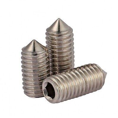 M6 M8 M10 Grub Screws Cone Point Hex Socket Set Screws 316 A4 Stainless Steel 2